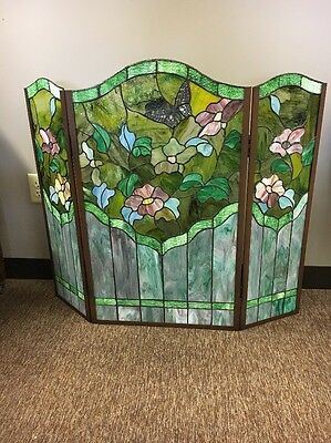 Stain Glass Fireplace Screen With Two Hinges