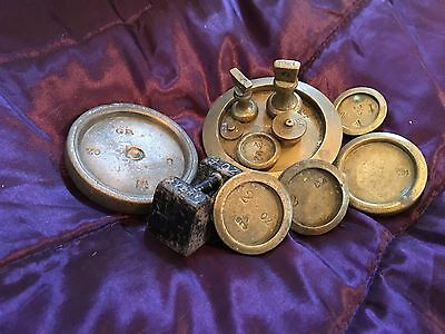 Set Of 12 Antique Brass Scale Weights