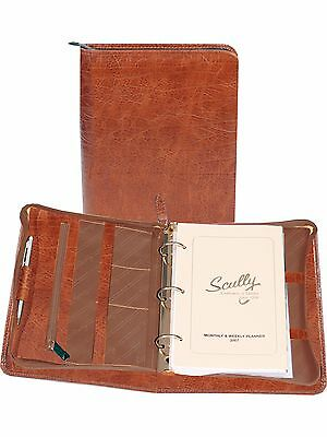 "New Scully Antique Leather 5.5"" X 8.5"" Monthly & Weekly Planner Agenda Brown"