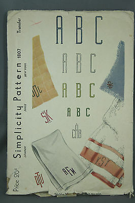 Vtg 40s Simplicity Embroidery Transfer Patterns 1807 7231 Script Block Letters
