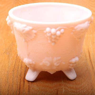 Pink Milk Glass Footed Grape Pattern Sugar Candy Bowl Dish
