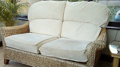 Whicker and cream conservatory furniture sofa, 2 chairs, 2 tables
