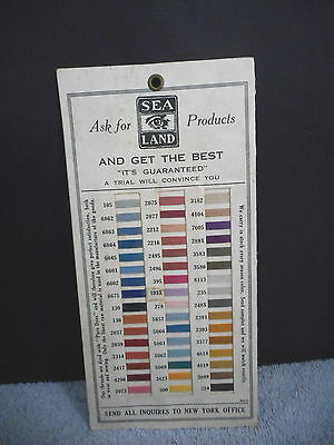 Antique Thread Advertising Sewing New York Sea Island Products Card Vintage RARE