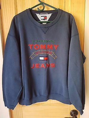 Authentic Tommy Hilfiger Jeans Vintage Embroidered Crew Neck Sweater Men's Xl