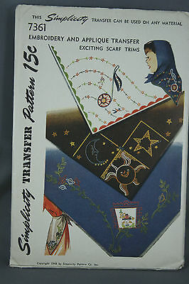Vtg 40s Simplicity Embroidery Applique Transfer Pattern 7361 Exciting Scarf Trim