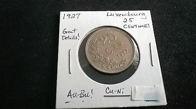 1927 Luxemburg 25 centimes coin EF