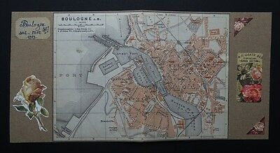Old map (year 1913)  the city of Boulogne-Sur-Mer, FRANCE