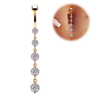 Piercing Ombelico Barra Acciaio Chirurgico 316L Anallergico oro gold belly