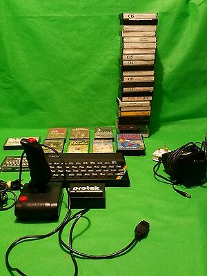 Vintage early ZX Spectrum Sinclair computer with joy stick games etc