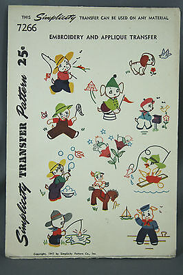 Vtg 40s Simplicity Embroidery Applique Transfer Pattern 7266 Animals Birds Pups
