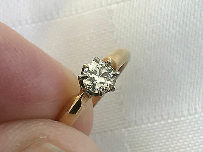 Fine Vintage 18ct18k/18carat/750 gold 0.25ct Solitaire diamond ring