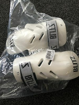 Small White Blitz Dipped Foam Sparring Gloves. Karate