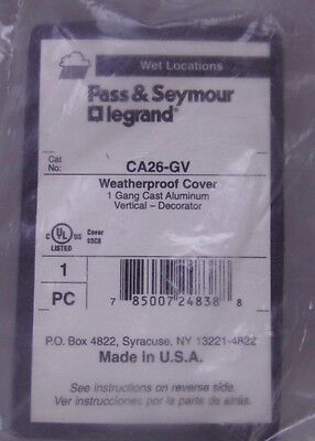Pass & Seymour Cast Aluminum Vertical Weatherproof Cover CA26-GV -FREE SHIPPING