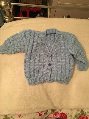 NEW 3-6 Months Baby Hand Knitted Blue Cardigan