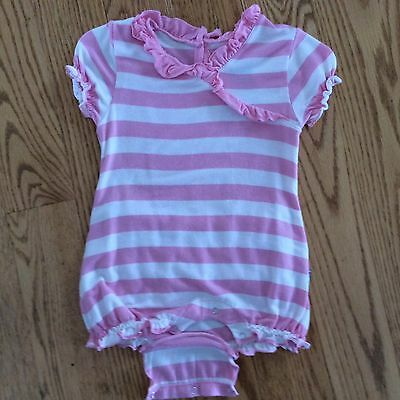 Kickee Pants 0-3 Months Girls One-Piece Pink & White Striped Short Sleeve Outfit