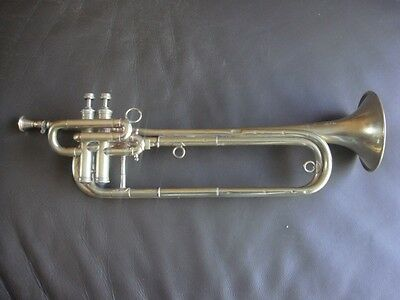 Antique French 2 valve Brass bugle by Couesnon Paris Pre WW2 military