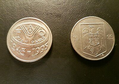 Lot of 2 x 10 Lei 1995 Authentic Romania Coins - 1x FAO(RARE)- NO RESERVE
