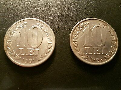 Lot of 2x 10 Lei Authentic Romania coins 1991 and 1992 - NO RESERVE
