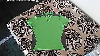 Pre-Owned Boy's Under Armour Green And Gray Short Sleeve Shirt Youth Large
