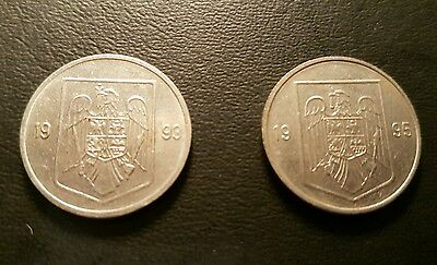 Lot of 2x 5 Lei Authentic Romania coins 1993, 1995 NO RESERVE