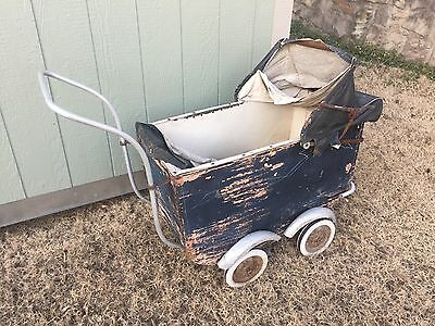 Antique Victorian Baby Carriage Buggy Stroller Pram For Restoration Or Parts