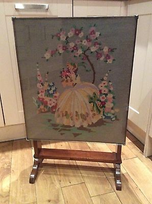 Antique Hand Embroidered Fire Screen, Fold Away Table/coffee Table