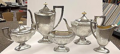 Beautiful Antique Sterling Hand Chased Tea Service Barbour Silver Co.