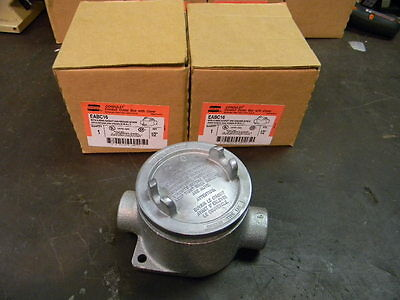 2 NEW Crouse-Hinds Condulet EABC16 Conduit Outlet Box W/ Cover