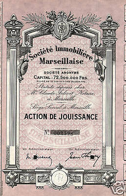 FRANCE MARSEILLES REAL ESTATE CO stock certificate
