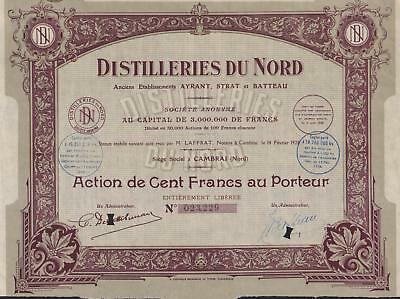 FRANCE NORTHERN DISTILLERIES stock certificate CAMBRAI