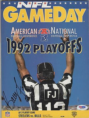 Barry Foster #29 Auto 1/9/93 NFL Game Day 1992 AFC Playoff Program COA PSA/DNA