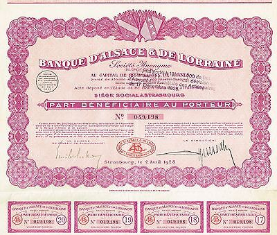 FRANCE BANK OF ALSACE & LORRAINE stock certificate 1928