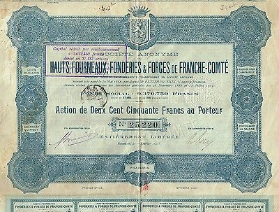 FRANCE BLAST FURNACES & FOUNDERIES OF FRANCHE COMTE  stock certificate 1913