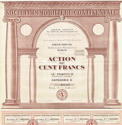 FRANCE CONTINENTAL REAL ESTATE COMPANY stock certificate 1929