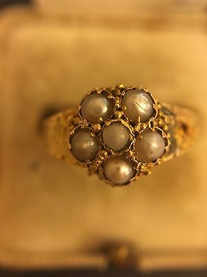 Victorian Antique Pearl Cluster Ring 15ct Yellow Gold See Description