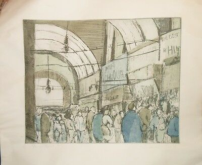 Vintage Limited Edition 3/5 Etching Grainger Market Newcastle Signed & Dated 84