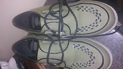 khaki canvas with thick beige crepe sole brothel creepers size 6 .5 uk 40 eu