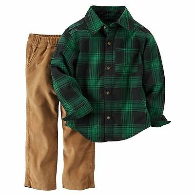 Carters Little Boys 2 Piece Outfit, Shirt/pants, Green Plaid, 4T. Nwt