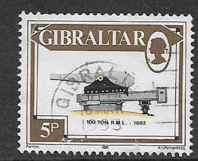 GIBRALTAR POSTAL ISSUE - 1987 USED MILITARY PIECE STAMP - 100 TON RML - 5p