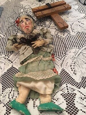 Antique Marionette Burmese Old Lady String Puppet Plaster & Wood & Fabric 16""
