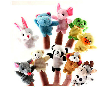 Educational Animal Family Finger Puppets Hand Toy 10 Pcs Cloth Doll Baby Cartoon