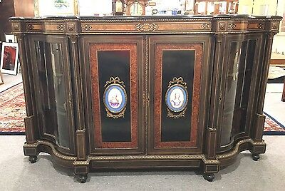 Black Lacquered French Sideboard w/Bronze Ormolu & Hand Painted Porcelain Panels