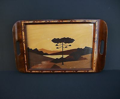 Brazil Inlaid Wood Breakfast Tray Wall Hanging Scenic Design Vintage