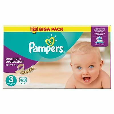 PAMPERS Active Fit Taille 3 - 4 à 9 kg - GIGA PACK 120 couches
