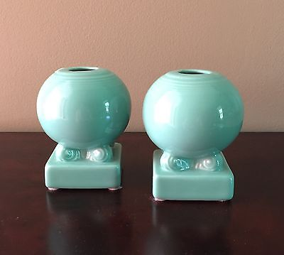 Set Of 2 Fiestaware Turquoise Round Bulb Candleholders