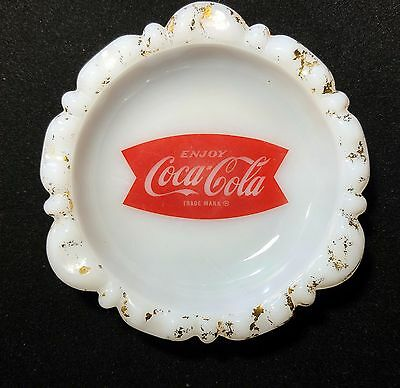 Vintage Coca Cola Fishtail Glass Ashtray
