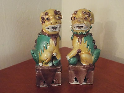 "Pair Chinese Glazed Porcelain Foo Dog - 6 1/4"" tall  ESTATE"