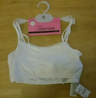 NEW 2 PACK WHITE CROP TOPS AGE 13 YEARS rrp £7