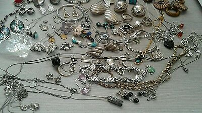 479 g sterling silver lot jewelry. pre owned condition. stones, beads, vintage+