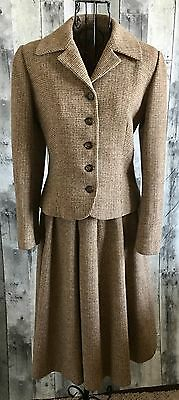 VTG 1940s Tweed Wool Suit Jacket Blazer Pleated Skirt Manchester Suitmakers S
